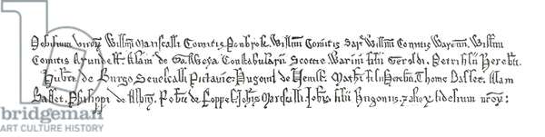 Specimen of the writing in the Magna Carta, 1215.   From Cassell's History of England, published c.1901