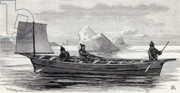 Eskimos in an umiak, from 'The English Illustrated Magazine', 1891-92 (litho)
