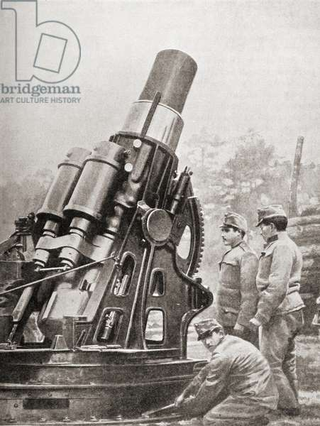 Austrian 12-inch siege howitzer and mount weighing over 28 tons manufactured by Skoda fired 1000+ pounds shell.