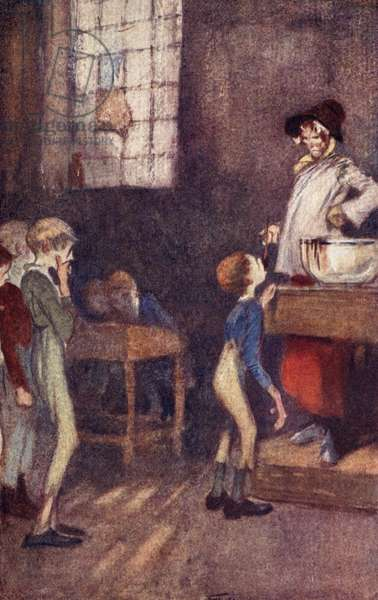 Dotheboys Hall, frontispiece from 'Nicholas Nickleby' by Charles Dickens (colour litho)