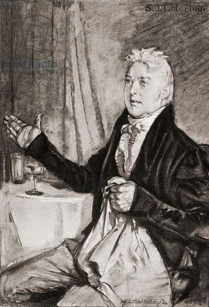 Samuel Taylor Coleridge, 1772 – 1834.  English poet, critic and philosopher. From an illustration by A.S. Hartrick.