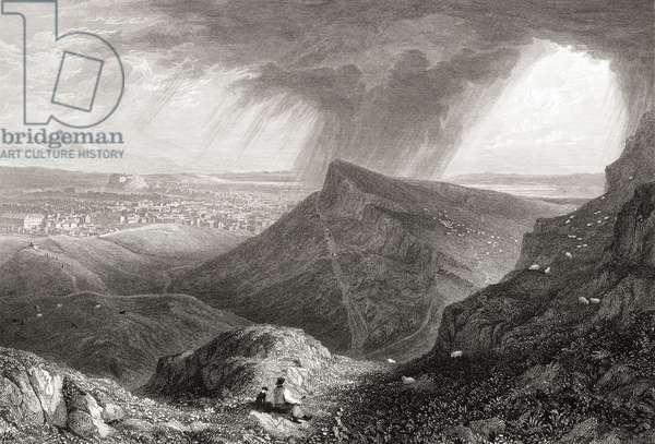 """Edinburgh from the ascent to Arthur's Seat.  From the original painting by Lt. Col. Batty F.R.S. from the book """"Select Views of some of the Principal Cities of Europe"""" published London 1832. Engraved by W.B.Smith."""