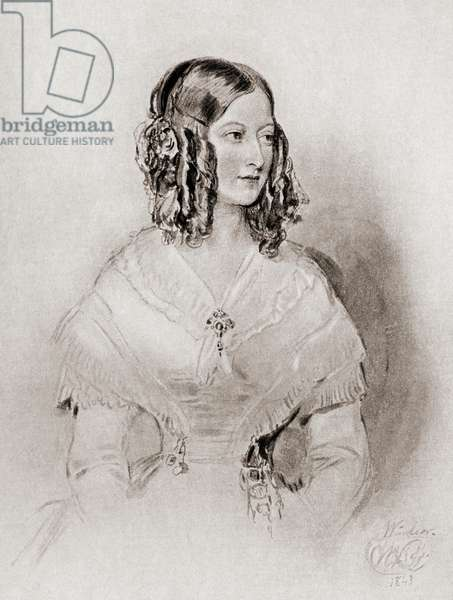 """Princess Victoire of Saxe-Coburg and Gotha, Duchess of Nemours, 1822-1857.  From a portrait by Sir.W.Ross.From the book """"The Girlhood of Queen Victoria 1832-1840 Vol II"""" published 1912."""