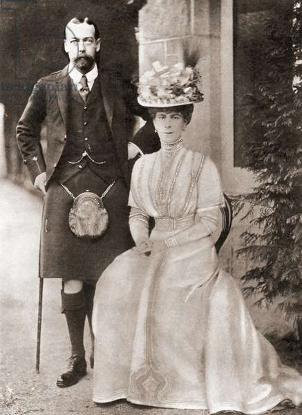 The Prince of Wales, later King George V, with his wife Mary of Teck in 1909.  From The Story of Seventy Momentous Years, published by Odhams Press 1937.