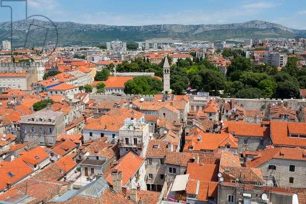 High overall rooftop view, Split, Dalmatian Coast, Croatia (photo)