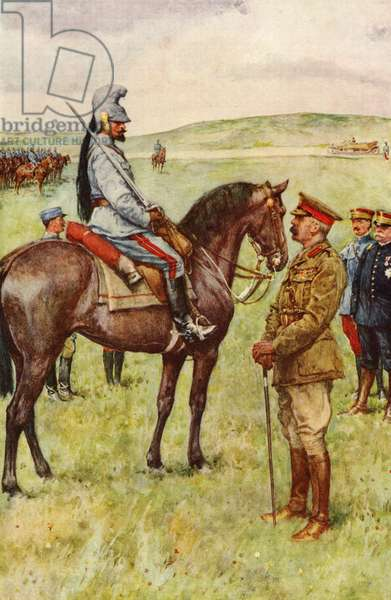 The meeting in France between Lord Kitchener and General Baratier. After a drawing by W. Paget. Field Marshal Horatio Herbert Kitchener, 1st Earl Kitchener, 1850 – 1916. British Field Marshal.  Albert Ernest Augustin Baratier 1864 - 1917.  French general.  From Field Marshal Lord Kitchener, His Life and Work for the Empire, published 1916.
