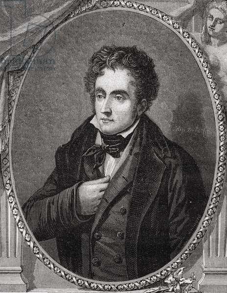 Francois-Rene, Vicomte de Chateaubriand (1768-1848) from 'Histoire de la Revolution Francaise' by Louis Blanc (1811-82) (engraving)