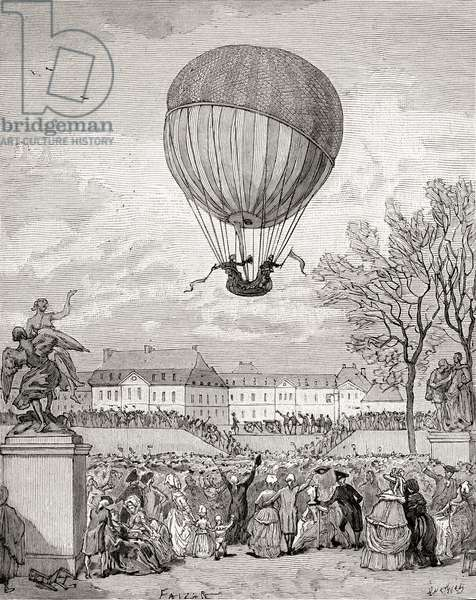 Professor Jacques Charles and Nicolas-Louis Robert fly the world's first manned hydrogen balloon on 1 December 1783 in the Tuilleries Gardens, Paris, from 'Histoire de France', published c.1880 (engraving)