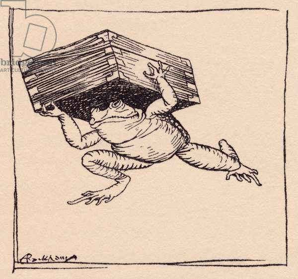 The little one went and brought the box. Illustration by Arthur Rackham from Grimm's Fairy Tale, The Iron Stove.