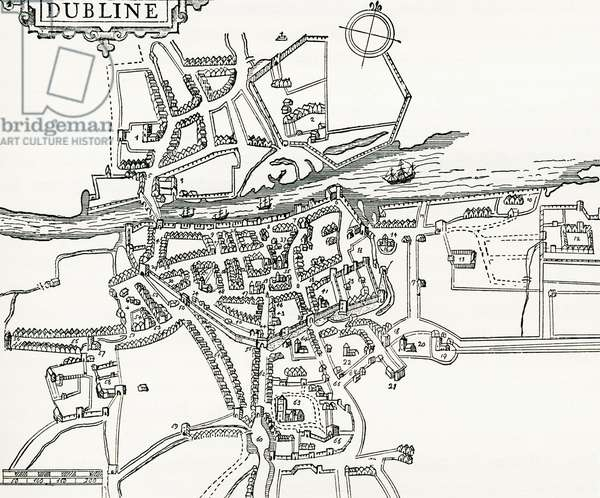 Map of Dublin, Ireland in 1610, from Our Own Country published 1898