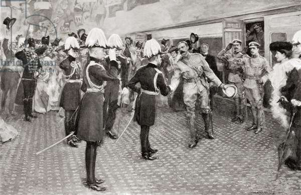 Lord Kitchener's homecoming in 1902 from South Africa.  After a drawing by W. Hatherell.  Field Marshal Horatio Herbert Kitchener, 1st Earl Kitchener, 1850 – 1916. British Field Marshal.   From Field Marshal Lord Kitchener, His Life and Work for the Empire, published 1916.