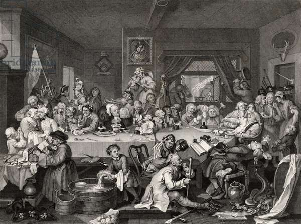 An Election Entertainment, engraved by T.E. Nicholson, from 'The Works of William Hogarth', published 1833 (litho)