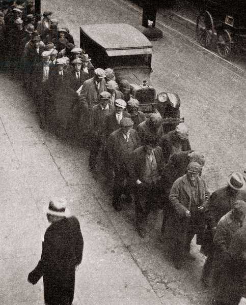 A soup line at the Bowery Mission, Manhattan, New York City, during the great depression, from 'The Literary Digest', 1930 (b/w photo)
