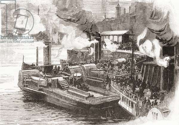 The steamboat Quay at The Broomielaw, Glasgow, Scotland in the 19th century.   From Cities of the World, published c.1893.