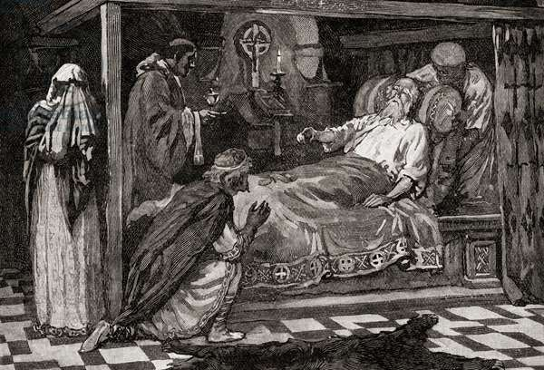 Edward The Confessor, aka Saint Edward the Confessor, 1042 -1066. Penultimate Anglo Saxon King.  Seen here on his deathbed.