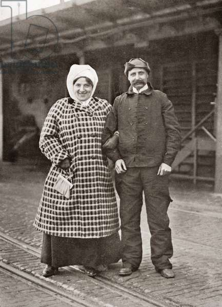 Louis Blériot and his wife Alice Védère after his cross channel flight in 1909.  Louis Charles Joseph Blériot, 1872 –1936.  French aviator, inventor and engineer.  From The Wonderful Year 1909