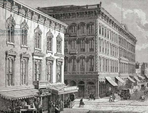 View of the Western Hotel, Montgomery Street, San Francisco, California, America in the 19th century.