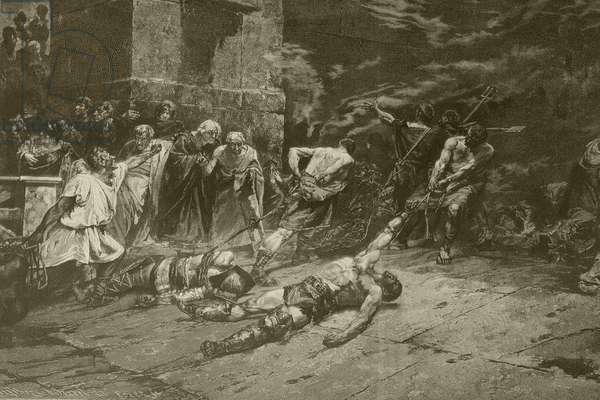 The Spoliarium, after a painting by Juan Luna, from 'Album Artistico', published c.1890 (litho)