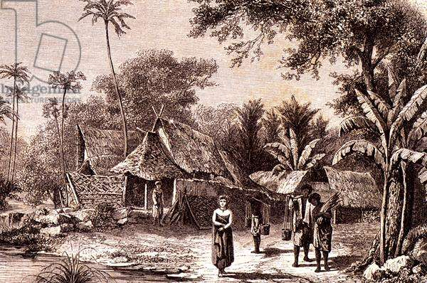 A Village in the Interior, Java, from 'Le Tour du Monde', published in Paris, 1860s (engraving)