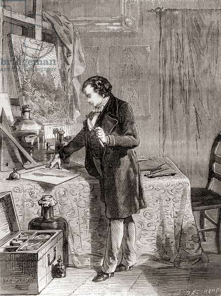 Louis-Jacques-Mandé Daguerre inventing the daguerreotype photographic process in the 19th century, from Les Merveilles de la Science, published c.1870 (engraving)
