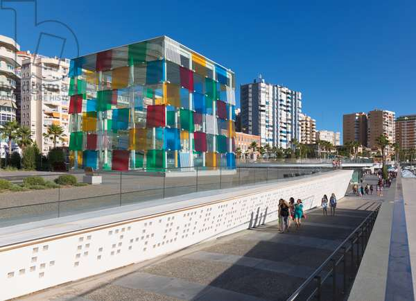 View of the glass cube of the Pompidou Centre museum on Muelle Uno, Malaga, Costa del Sol, Spain (photo)