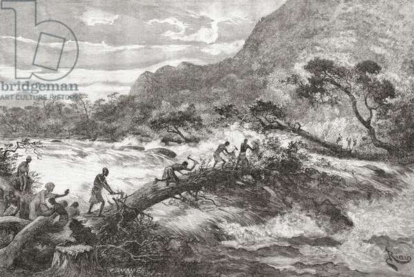 An improvised bridge in Central Africa, from 'Africa Pintoresca', published 1888 (engraving)