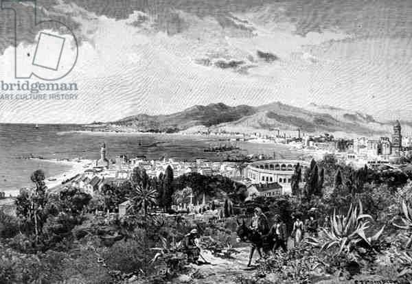 A View Looking West Across Malaga, Spain, from 'The Picturesque Mediterranean', Volume 3, published by Cassell and Co. Ltd., 1880s-90s (engraving)