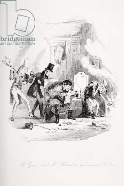 Mr. Squeers and Mrs. Sliderskew unconcious of visitors, illustration from `Nicholas Nickleby' by Charles Dickens (1812-70) published 1839 (litho)