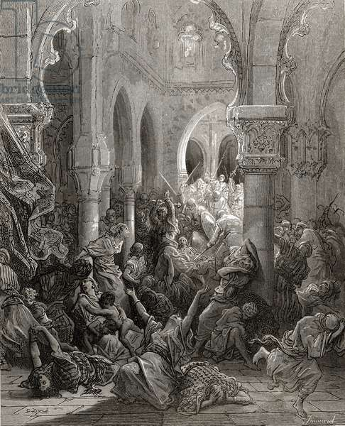 The Crusaders massacre the inhabitants of Caesarea, illustration from 'Bibliotheque des Croisades' by J-F. Michaud, 1877 (litho)