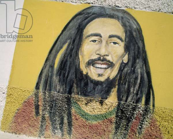 Bob Marley (painted cement)