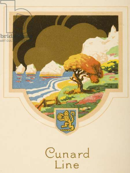 Diner D'Adieu menu cover from the R.M.S Caronia, 18th December 1928 (colour litho)