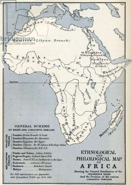 Ethnological and Philological map of Africa as it was in the 19th century, from' Africa' by Keith Johnston, published 1884.