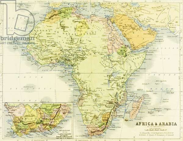 19th century map of Africa and Arabia. Engraved and printed in 1869 by W. &A. K. Johnston.