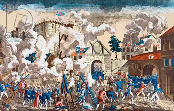 The Storming of the Bastille, 14 July 1789 (coloured engraving)