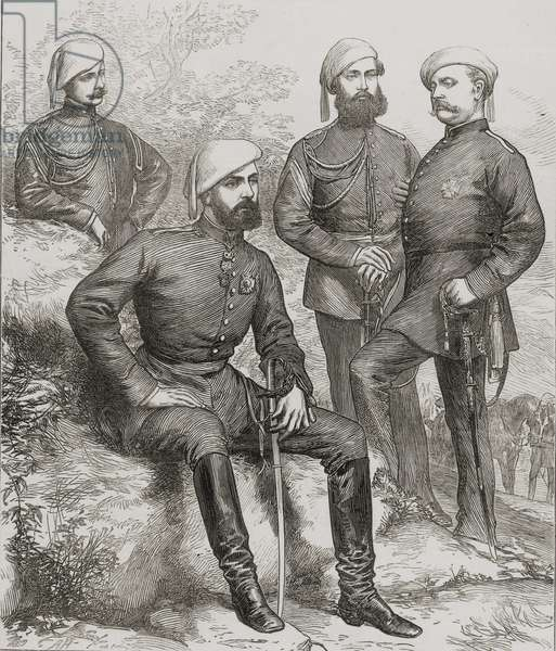 Don Carlos (1848-1909) Duque de Madrid, and his staff during the Spanish Civil War of 1873 (litho)