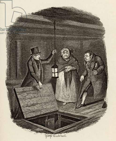 The evidence is destroyed, from 'The Adventures of Oliver Twist' by Charles Dickens (1812-70) 1838, published by Chapman & Hall, 1901 (engraving)