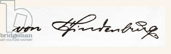 Signature of Paul Ludwig Hans Anton von Beneckendorff, aka Paul von Hindenburg, from Meyers Lexicon, pub. 1924