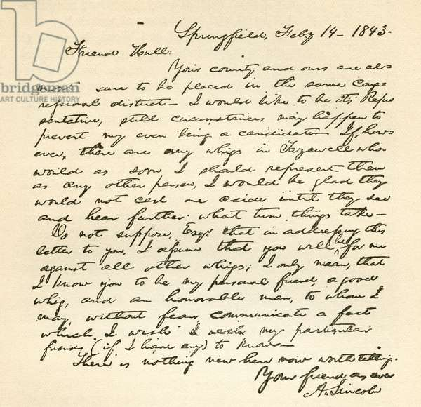 Letter from Abraham Lincoln to Alden Hall, dated February 14, 1843 (litho)
