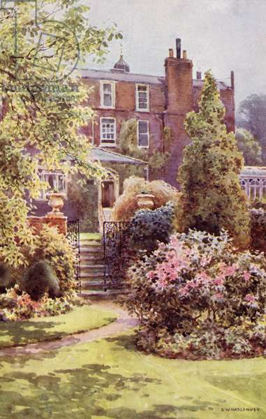 Gads Hill Place, Higham, Kent, frontispiece from 'Charles Dickens' by George Gissing, published 1898 (colour litho)