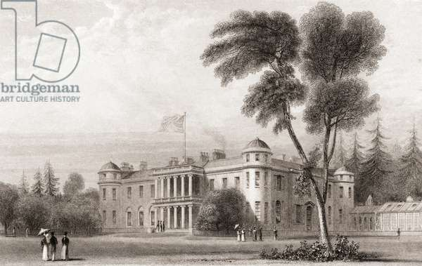 19th century view of Goodwood House, West Sussex, southern England.  From Churton's Portrait and Lanscape Gallery, published 1836.