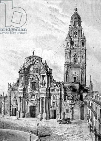 Cathedral of Murcia, Spain, 1880s (engraving)