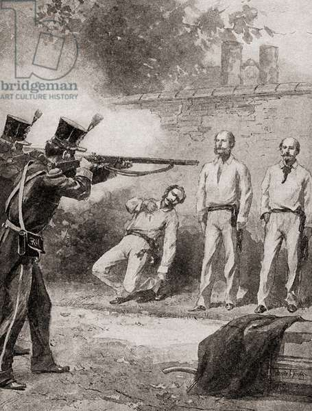 The execution, by firing squad, of Maximilian I in 1867.  Maximilian I, born Ferdinand Maximilian Joseph, 1832 –  1867.  Only monarch of the Second Mexican Empire.  From The History of our Country, published1900.