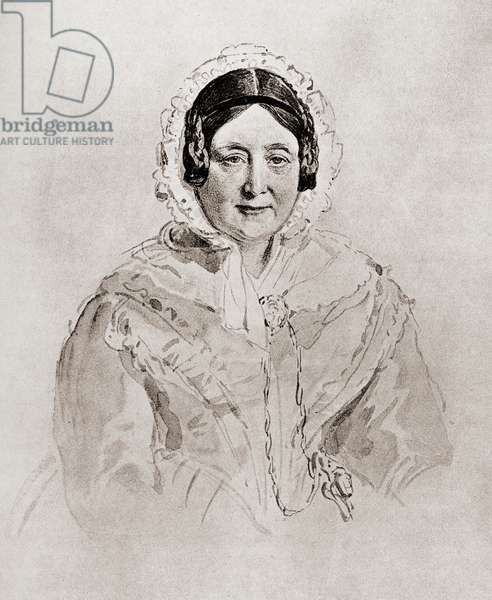"""Princess Mary, The Duchess of Gloucester, 1776-1857. Member of the British Royal Family. From a portrait by Sir. W.Ross.From the book """"The Girlhood of Queen Victoria 1832-1840 Vol II"""" published 1912."""