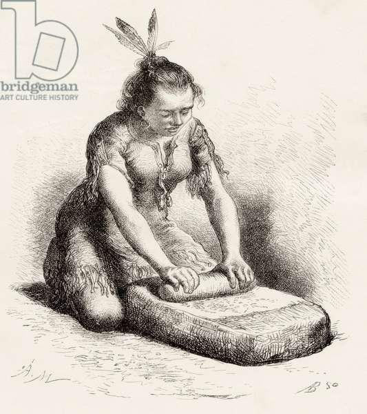 A native Guayan woman crushing grain (engraving)