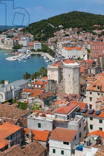 High overall rooftop view with harbour, The tower is the 15th century Venetian Marina Tower in Brace Radic Square, Split, Dalmatian Coast, Croatia (photo)