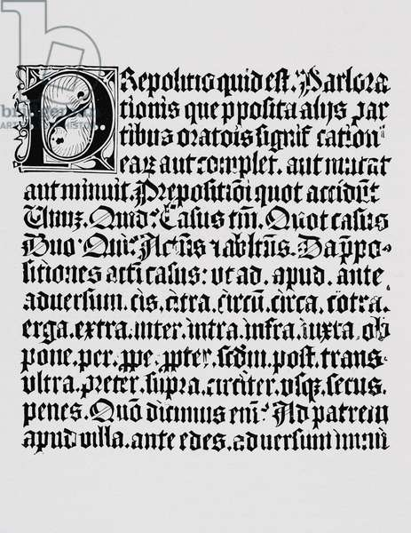 Facsimile of a page of xylography or wood engraving about the preposition, from a grammar book printed by Johann Fust and Johannes Gutenberg, Mainz, c.1450 (litho)