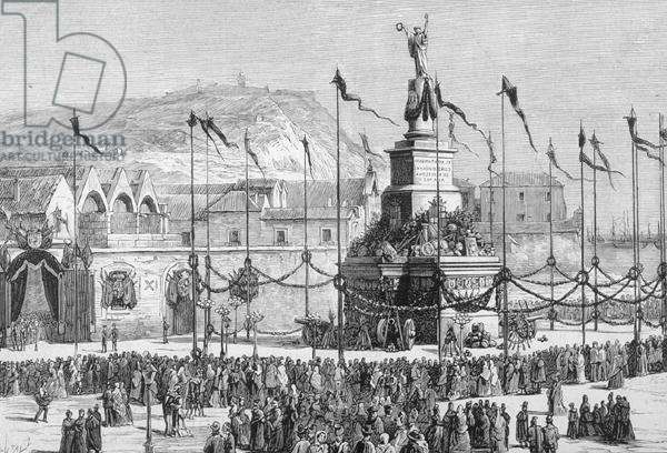 The Unveiling of the Monument to Peace, Barcelona, Spain (engraving)