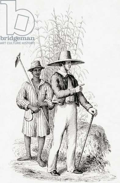 A planter and his slave in the West Indies in the 19th century