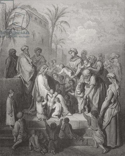 Jesus Blessing the Children, illustration from Dore's 'The Holy Bible', engraved by Pannemaker, 1866 (engraving)