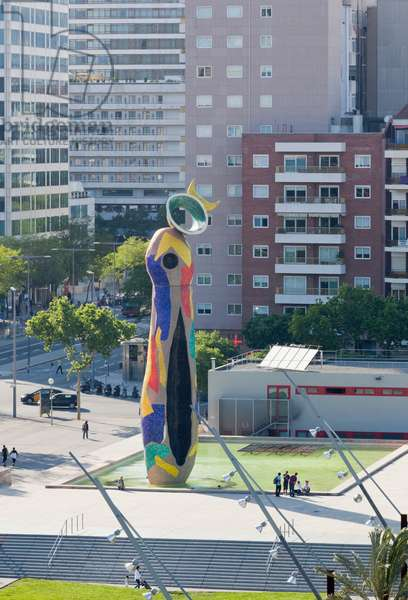 Barcelona, Spain. Parc de Joan Miro and the Miro sculpture Dona i Ocell - Woman and Bird.